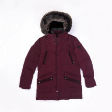 Men`s fake fur-hooded down jacket