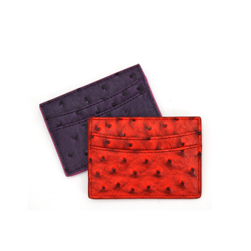 Custom Logo Real Ostrich Leather Card Wallet Holder