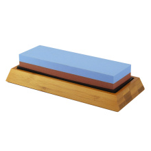 double sided knife sharpening stone with bamboo base