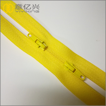 nylon yellow teeth two way bag zipper