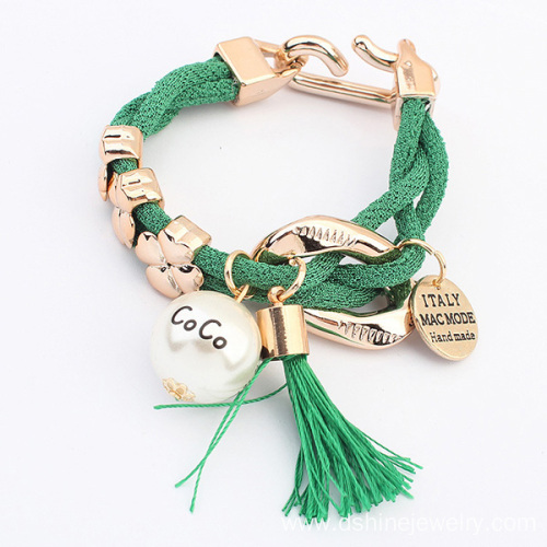 Gold Charm Mesh Rope Wrap Tassel Bracelet With Pearl Pendant