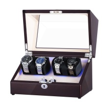 Dobbelt rotorer Perpetual Motion Watch Winder med LED