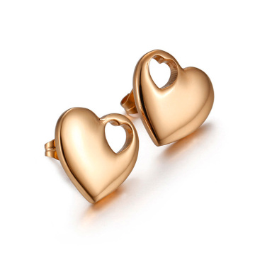 Cheap rose gold heart stud earrings for women