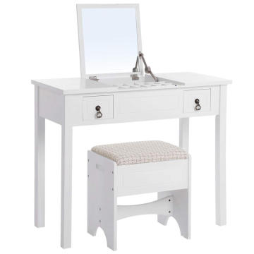 White Vanity Makeup Table with Flip Top Mirror Dresser Makeup Table with 2 Drawers Cushioned Stool 3 Removable Organizers