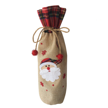 Christmas burlap wine bottle cover