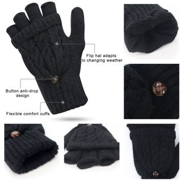 Digitek Women's Fingerless Mittens Winter Warm Gloves