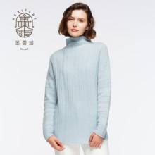 Women's stand neck wool cashmere sweater