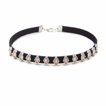 Rhinestone Choker Accessory Black Velvet Necklace For Women
