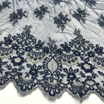 Two Tone Embroidery Fabric On Korea Mesh Fabric