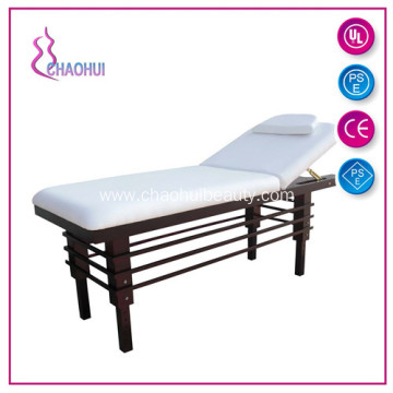 Wood facial bed used in beauty salon
