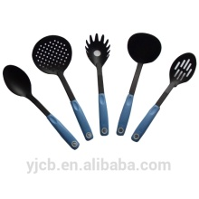Black 5pcs Nylon Kitchen Set with Blue Handle