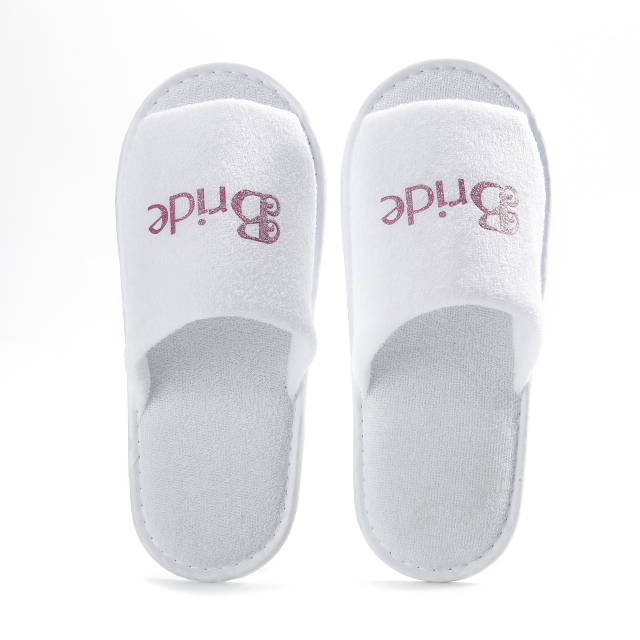 Terry cloth slipper with one color print logo