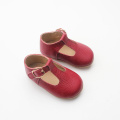 Christmas Bright Red T-bar Baby Shoes