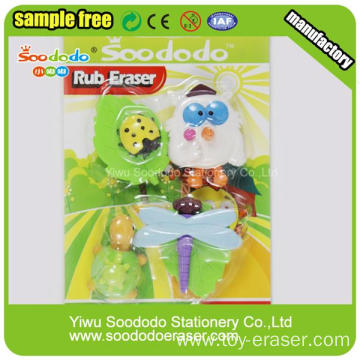 Packed Animal Rubber Eraser In Blister Card