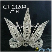 Flower shape leaf rhinestone pageant crowns for party