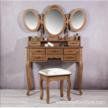 Vanity Brown Dressing Table 3 Mirrors Modern Dressers with Stool