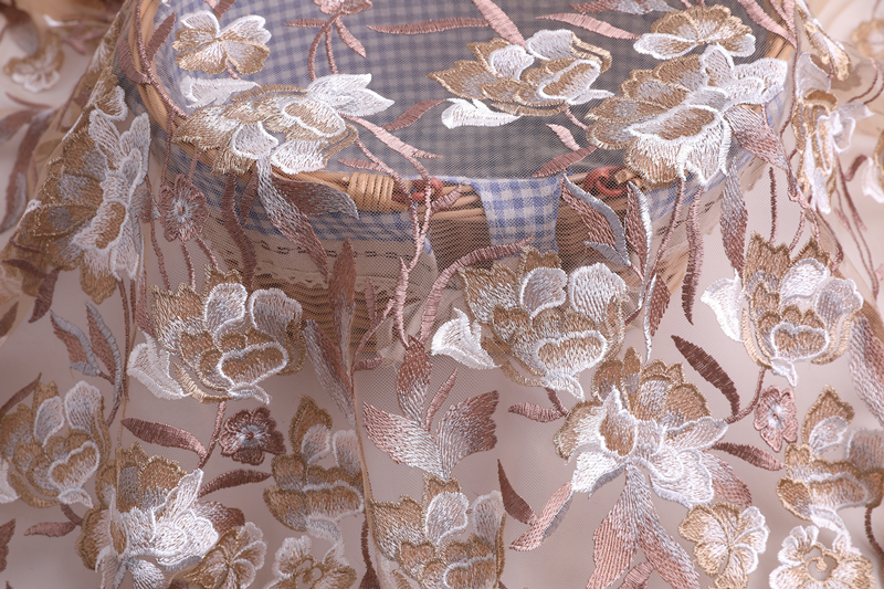 Multicolor Tulle Embroidery Fabric