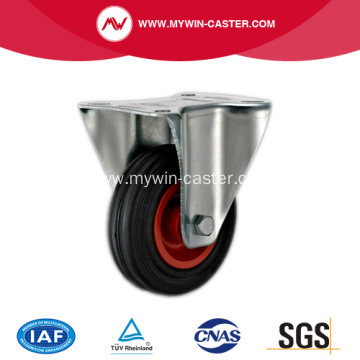 4'' Plate Rigid Black Rubber PP core Caster