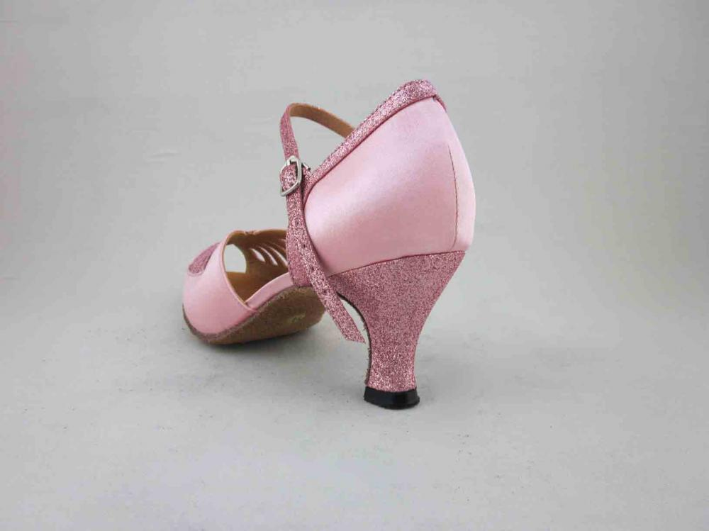 Girls Pink Satin Salsa Shoes