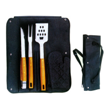 4pcs wooden handle bbq tools with apron set