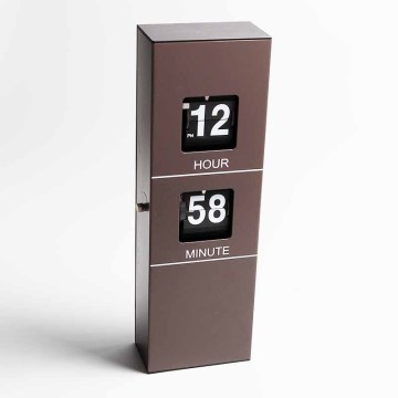 European style flip wall clock with brown color