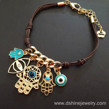 Leather Knots Chain Evil Eye Bracelet With Hamsa Pendant