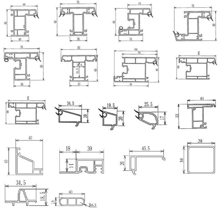 60 casement upvc profile section