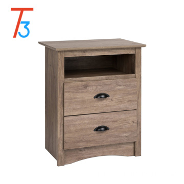 Drifted Gray End Table Bedside Cabinet Wood Night Stand with Storage Drawer