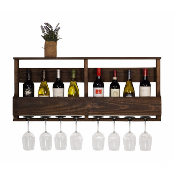 The Original Wine Rack Handmade Reclaimed Wood, Wall Mounted, 8 Bottle 8 Long Stem Glass Holder & Shelf