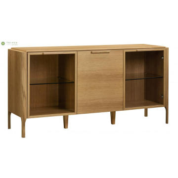 Light Walnut Solid Wood Dining Side Cabinet