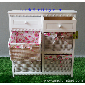Factory wholesale solid paulownia MDF wood chest with wicker drawer storage cabinet