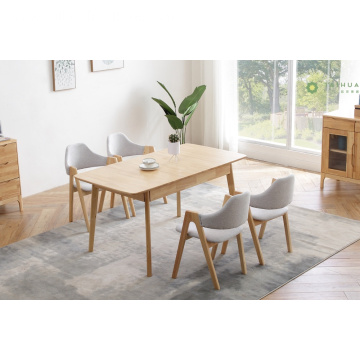Extendable Rubber Solid Wood Rectangular Table for 6