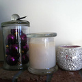 Scented soy wax candle in clear metro jar
