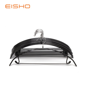Black PVC Coated Clothes Hanger With Hook