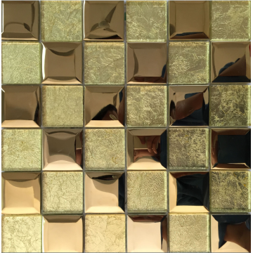 golden 3D effect marble and crystal mosaic