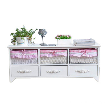 White color Garden wood TV cabinet