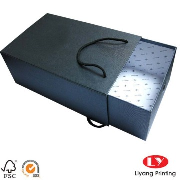 Quality black packaging paper box with drawer