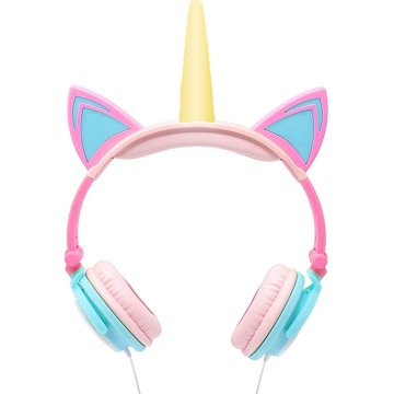 Fábrica LED piscando Unicorn Cat Orelhas Headphones Kids