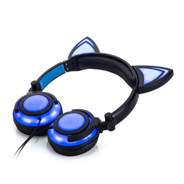 Leading for Cat Headphone Headphone Cat Ear Headset Chargeable LED Foldable Earphones export to British Indian Ocean Territory Supplier