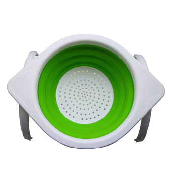 Kitchen Foldable Strainer Basket With Folding Stand