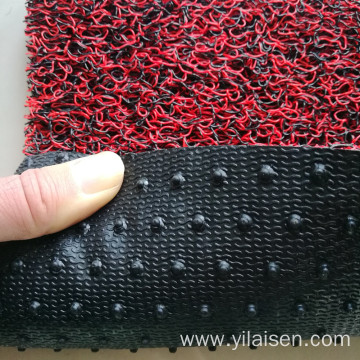 Double color coil car mat with nail backing