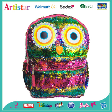 Owl colorful sequins backpack