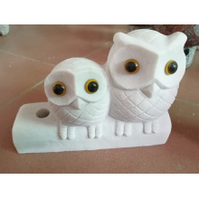 White jade owl couple