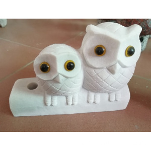 Hot sale good quality for Animal Sculpture White jade owl couple supply to Russian Federation Factories