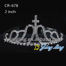 Wholesale Cheap Rhinestone Tiara With Cross