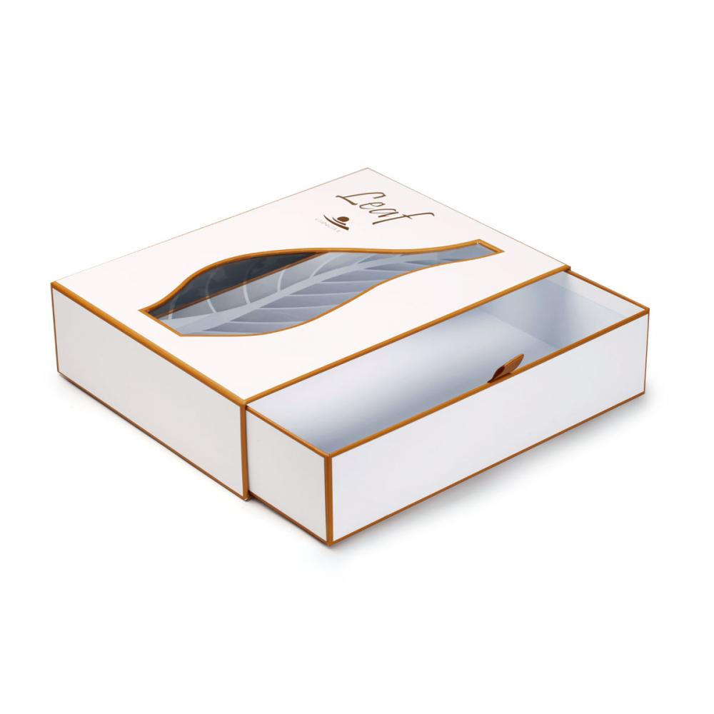 Luxury UV Spot White Sliding Drawer Cosmetics Box