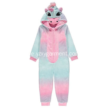 Regenbogen Einhorn Stickerei Fleece-Strampler