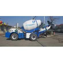 Mobile concrete mixer truck with self-loading