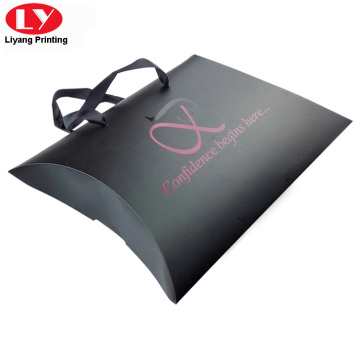 Black hair extension pillow box with ribbon handle