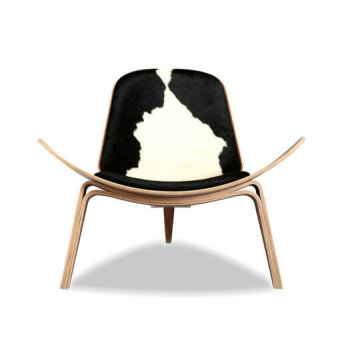 Wegner Shell chair pony cowhide leather lounge chair